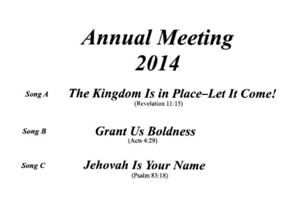 Watchtower AGM 2014 song list