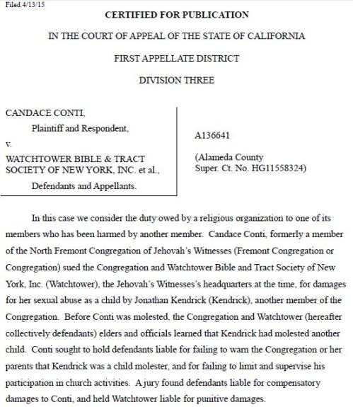 Conti v Watchtower Appeals Judgment 2015